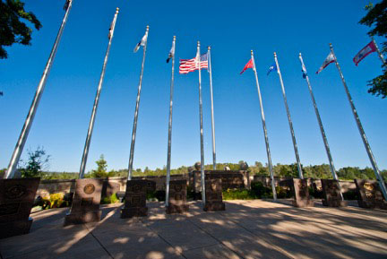 Veterans Monument - Flags in Line