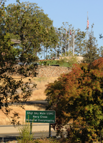 The Sky Mote Overcrossing sign stands along eastbound Highway 50 in the shadow of the El Dorado County Veterans Memorial at the Placerville government center. Village Life photo by Shelly Thorene